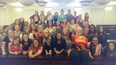 Carolyn visits Fla. Southern College AXO sorority in advance of their Take Back the Night Nov 2015